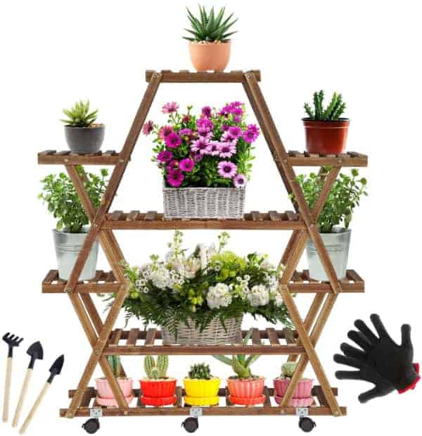 A star shaped plant display stand made of bamboo