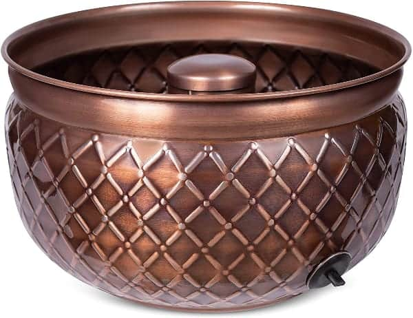 A Beautiful Copper Garden Hose Container by BIRDROCK HOME. This all metal product mahes a great hideaway solution.