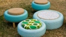 Tires made into outdoor furniture